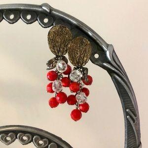 Vintage Red Dangle Drop Earrings